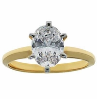 2.5 Carat Oval Cubic Zirconia Classic Solitaire Engagement Ring