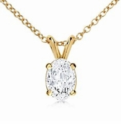 2.5 Carat Oval Cubic Zirconia Classic Solitaire Pendant in 14K Yellow Gold