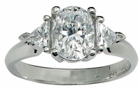 2.5 Carat Oval with Trillions Three Stone Cubic Zirconia Engagement Ring