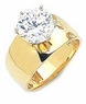 2.5 Carat Round Cubic Zirconia Wide Cigar Band Style Engagement Ring
