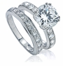 2.5 Carat Round Royal Crown Double Prong Cubic Zirconia Pave Bridal Set