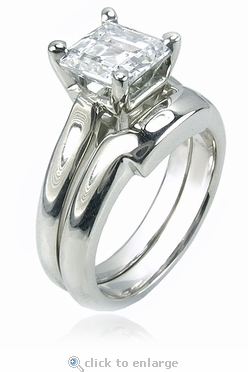 2.5 Carat Sex and the City Inspired Step Cut Square Cubic Zirconia Bridal Set with Contoured Matching Band