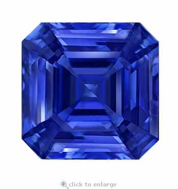 2.50 Carat 8x8mm Asscher Cut Blue Sapphire Lab Created Synthetic Loose Stone