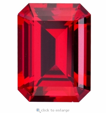 2.50 Carat 9x7mm Emerald Cut Ruby Lab Created Synthetic Loose Stone