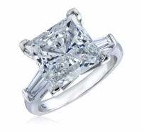 2.50 Carat Princess Cut Cubic Zirconia Baguette Solitaire Engagement Ring