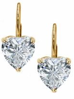 2 Carat Each Heart Shape Cubic Zirconia Leverback Earrings