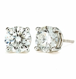 2 Carat Each Round Cubic Zirconia Basket Set Four Prong 18K White Gold Stud Earrings