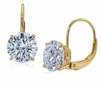 2 Carat Each Round Cubic Zirconia Leverback Stud Euro Wire Earrings
