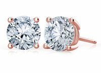 2 Carat Each Round Cubic Zirconia Stud Earrings 14K Rose Gold