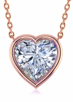 2 Carat Heart Shaped Bezel Set Cubic Zirconia Solitaire Pendant