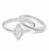 2 Carat Marquise Classic Solitaire Engagement Ring with Matching Band Wedding Set