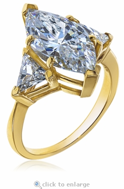 2 Carat Marquise with Trillions Cubic Zirconia Three Stone Ring