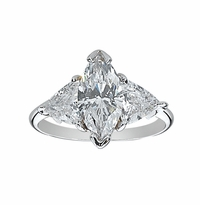 2 Carat Marquise with Trillions Three Stone Cubic Zirconia Engagement Ring