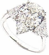 2 Carat Pear with Trillions Cubic Zirconia Engagement Ring