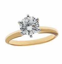 2 Carat Round Cubic Zirconia Six Prong Classic Solitaire Engagement Ring