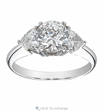 2 Carat Round with Trillions Cubic Zirconia Engagement Ring