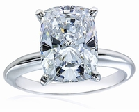20 Carat Cushion Emerald Cut Cubic Zirconia Classic Solitaire Engagement Ring