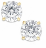 3.5 Carat Each Round Cubic Zirconia Basket Set Four Prong 18K Yellow Gold Stud Earrings