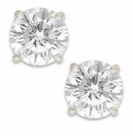 3.5 Carat Each Round Cubic Zirconia Screwback 18K White Gold Stud Earrings