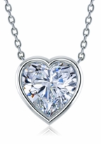 3.5 Carat Heart Shaped Bezel Set Cubic Zirconia Solitaire Pendant