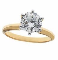 3.5 Carat Round Cubic Zirconia Six Prong Classic Solitaire Engagement Ring