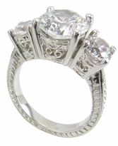 3.5 Carat Round Cubic Zirconia Three Stone Engraved Anniversary Ring