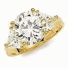 3.5 Carat Round with Trillions Cubic Zirconia Engagement Ring