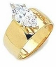 3 Carat Marquise Cubic Zirconia Wide Cigar Band Style Engagement Ring