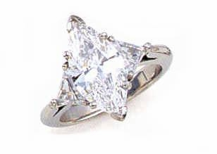 3 Carat Marquise with Trillions Cubic Zirconia Three Stone Ring