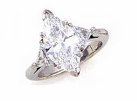 3 Carat Marquise with Trillions Three Stone Cubic Zirconia Engagement Ring