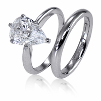3 Carat Pear Classic Solitaire Engagement Ring with Matching Band Wedding Set