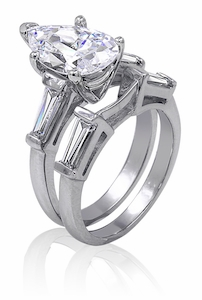 3 Carat Pear Cubic Zirconia Baguette Solitaire with Matching Band Wedding Set