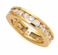3 Carat Round Channel Set Cubic Zirconia Eternity Wedding Band - Large
