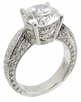 3 Carat Round Cubic Zirconia Engraved Antique Estate Style Solitaire