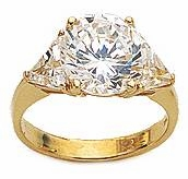 3 Carat Round with Trillions Cubic Zirconia Engagement Ring