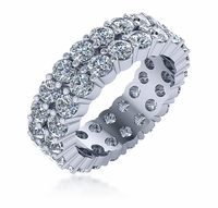 3mm Double Row Shared Prong Round Cubic Zirconia Eternity Band