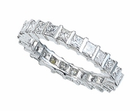 3mm Princess Cut Cubic Zirconia Bar Set Channel Set Eternity Band