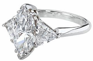 4.5 Carat Marquise with Trillions Three Stone Cubic Zirconia Engagement Ring