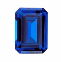 4 Carat 10x8mm Emerald Cut Blue Sapphire Lab Created Synthetic Loose Stone