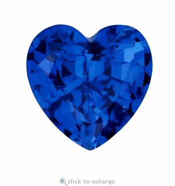 4 Carat 11mm Heart Shape Blue Sapphire Lab Created Synthetic Loose Stone