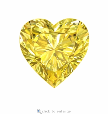 4 Carat 11mm Heart Shape Canary Yellow Diamond Look Cubic Zirconia Loose Stone