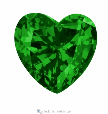 4 Carat 11mm Heart Shape Emerald Lab Created Simulated Loose Stone