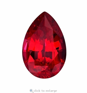 4 Carat 13x9mm Pear Red Lab Created Synthetic Loose Stone