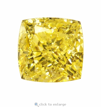 4 Carat 9mm Cushion Cut Square Canary Yellow Diamond Look Cubic Zirconia Loose Stone