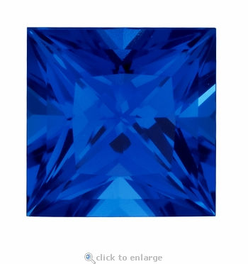 4 Carat 9mm Princess Cut Blue Sapphire Lab Created Synthetic Loose Stone
