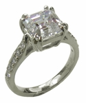 4 Carat Asscher Cut Cubic Zirconia Double Prong Cathedral Pave Solitaire Engagement Ring