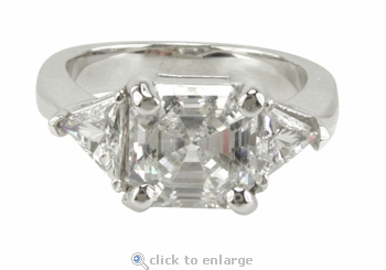 4 Carat Asscher Cut with Trillions Three Stone Cubic Zirconia Engagement Ring