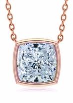 4 Carat Cushion Cut Square Bezel Set Cubic Zirconia Solitaire Pendant