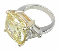 4 Carat Cushion Cut with Trillions Three Stone Cubic Zirconia Engagement Ring
