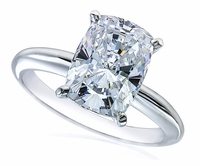 4 Carat Cushion Emerald Cut Cubic Zirconia Classic Solitaire Engagement Ring